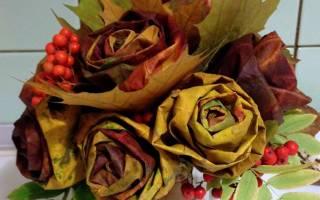 Роза из листьев клена мастер класс